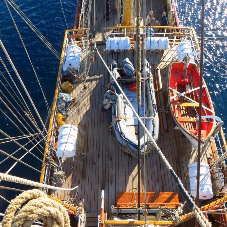 Aussicht vom Mast: Deck der Bark Europa