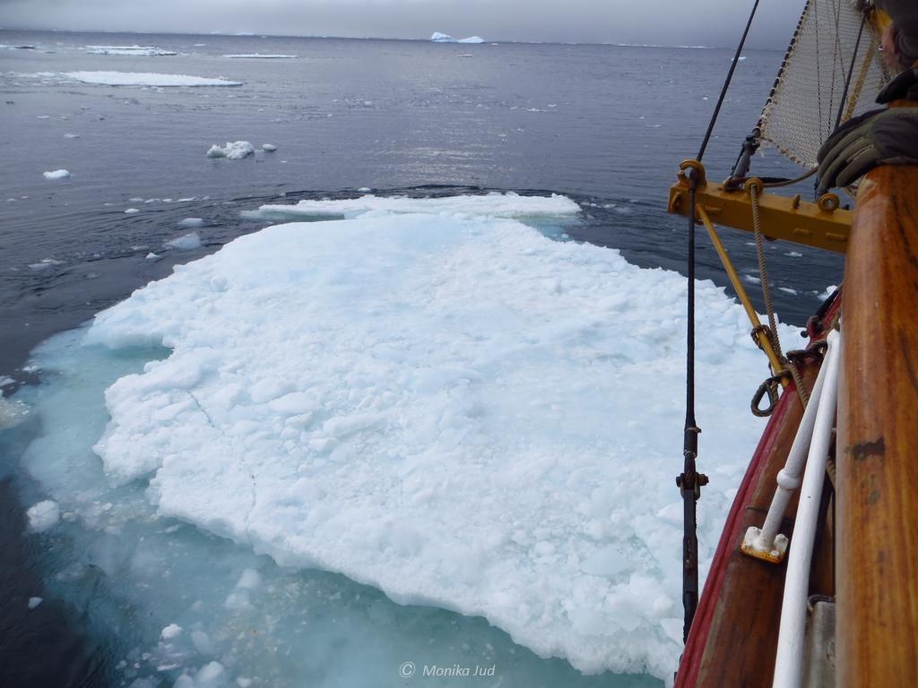 Kollision der Bark Europa mit einer Eisscholle