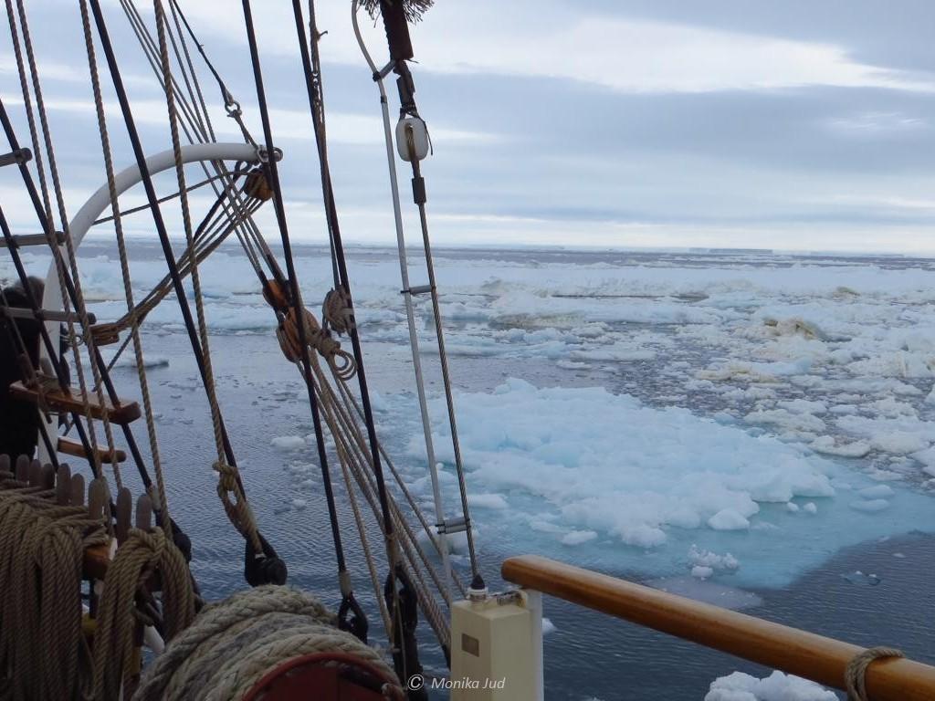 Eisschollen dicht um die Bark Europa