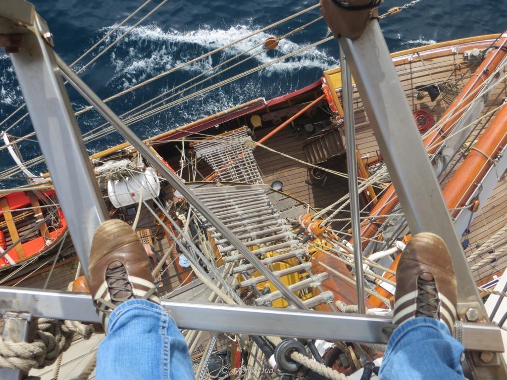 Nur für Schwindelfreie - Über diese Leitern geht es auf die Masten