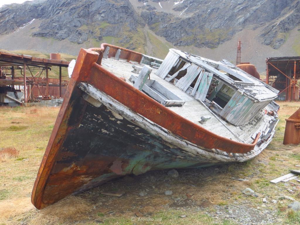 verwitterndes Boot auf Grytviken - langsam verwittern alle Überreste der alten Walfangstation