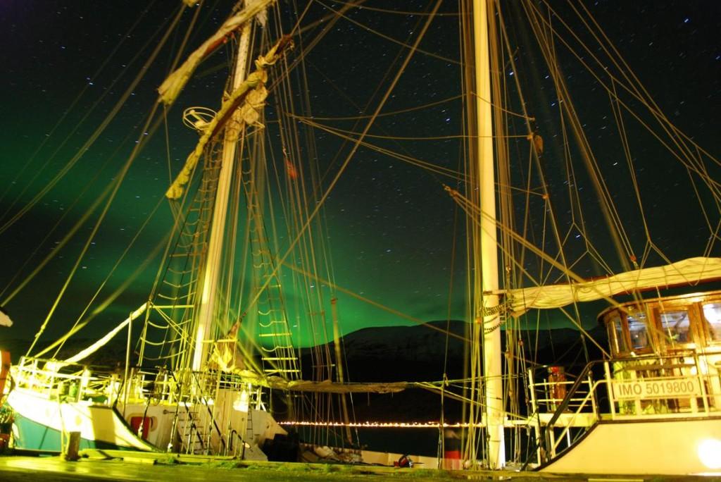 Polarlicht über Spitzbergen